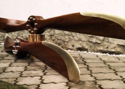 Sopwith propeller 250cm, mahogany, satin finish, simple hub, brass sheathing
