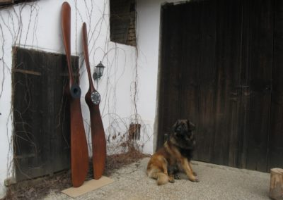 Blériot propeller 273cm, Sopwith propeller 250cm - both in mahogany stain and patina