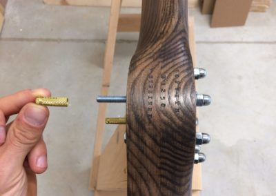Simple hub on ash propeller, stained to brown with patina