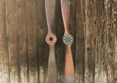 Sopwith propellers, 250cm, mahogany stain + patina